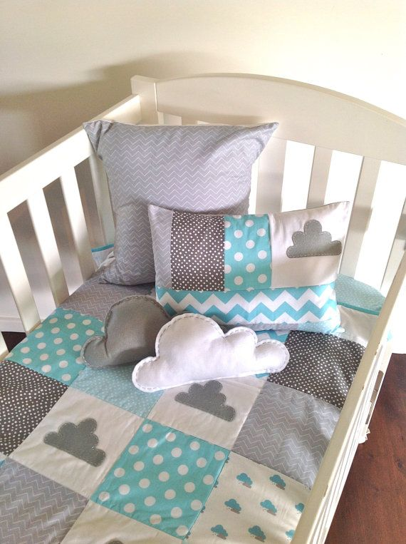 Little Cloud Baby Crib Quilt Set  ..made after by AlphabetMonkey, $335.00
