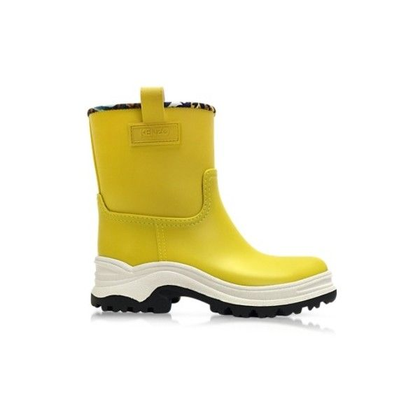 Kenzo Shoes Miel Rubber Boots (2.470 NOK) ❤ liked on Polyvore featuring shoes, boots, yellow, wellington rubber boots, rubber boots, wellington boots, waterproof wellington boots and rain boots