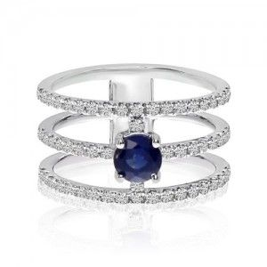 1. 14k White Gold 3 Bar Sapphire and Diamond Rings