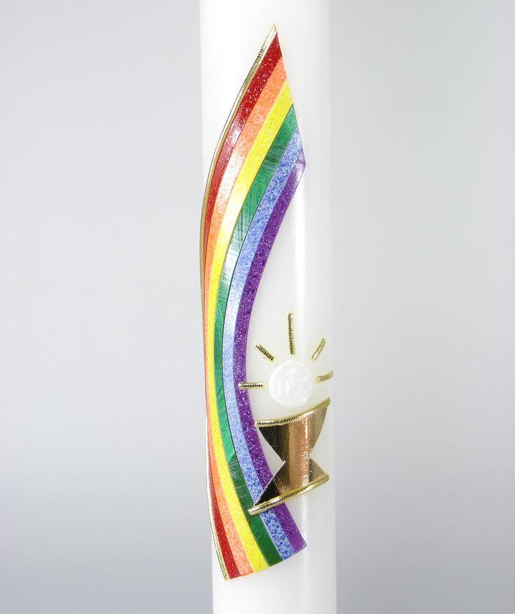 Kerze zur Erstkommunion Weiße Kerze Wachsdarstellung: Regenbogen und Goldener Kelch Größe: 40 cm Durchmesser: 4 cm Mögliche Beschriftung: Goldfarbene Buchstaben werden empfohlen...