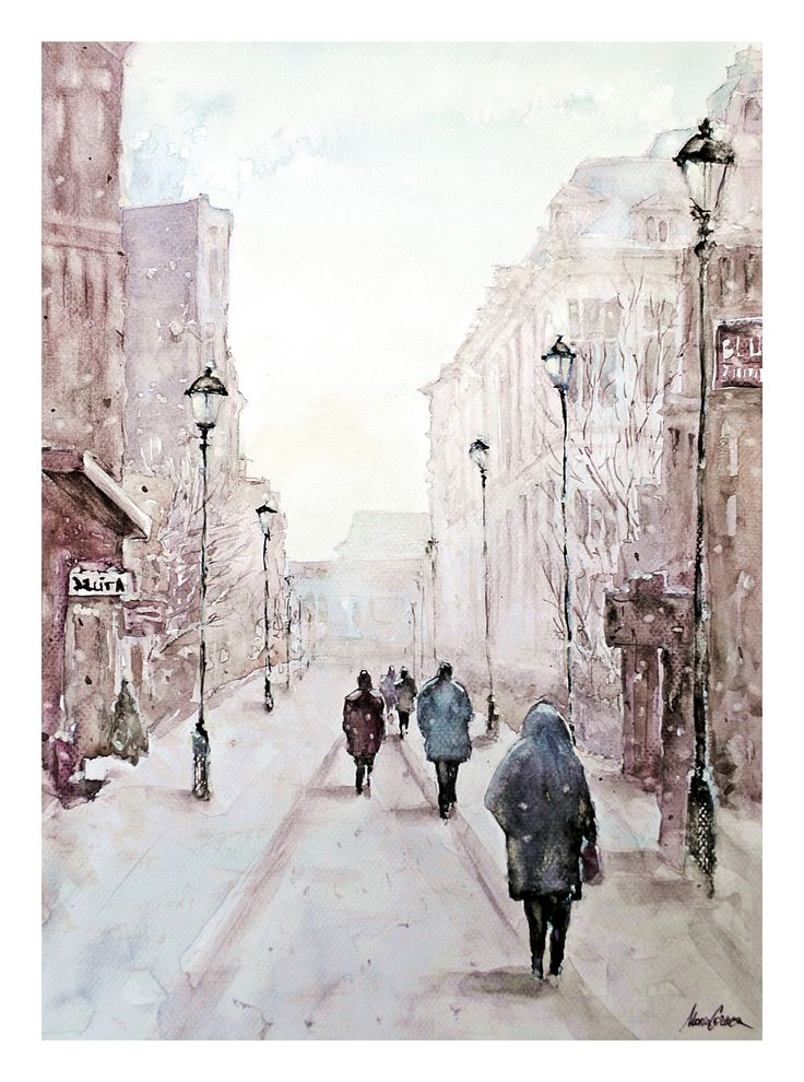 Watercolor painting by Maria Cornea Cityscape, Bucharest