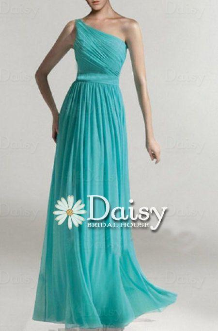 Custom Tiffany Blue Chiffon Dress,Long Turquoise Bridesmaid Dresses,One-Shoulder Bright Teal Bridal Party Dresses,Aqua Chiffon dress(CST001)...