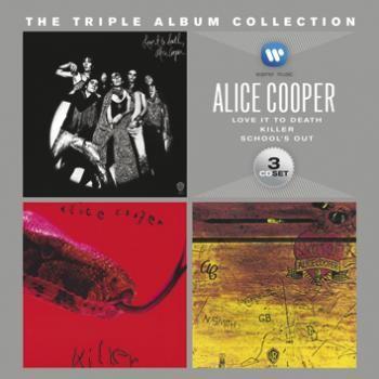 """Cofanetto contenente 3 album di #AliceCooper: """"Love It To Death"""", """"Killer"""" e """"School's Out""""."""