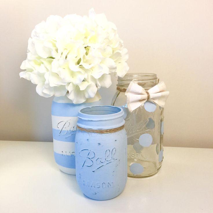 Baby Shower Mason Jar Decor. Baby Boy Shower. Rustic Painted Mason Jars. Centerpiece. Polka Dot Mason Jar. Gift. Decor. Nursery. Burlap. by LowCountryHomeDecor on Etsy https://www.etsy.com/listing/230229080/baby-shower-mason-jar-decor-baby-boy