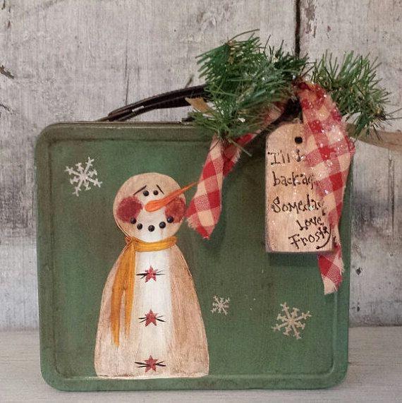 Primitive Snowman on Vintage Lunch Box,Primitive Snowmen,Metal Snowman,Painted…
