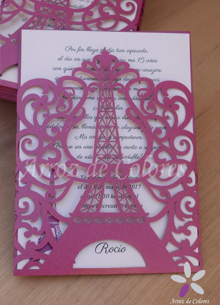 30 Invitaciones Torre Eiffel Caladas Láser 15 Años Tarjetas - $ 2.200,00