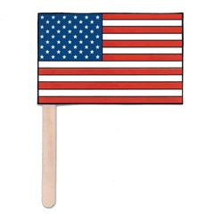 Memorial Day craft for kids - American flag. Color, cut out, and glue to popsicle stick