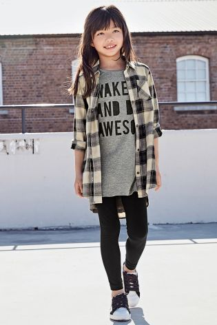 Buy Black Check Longline Shirt Dress (3-16yrs) online today at Next: Australia