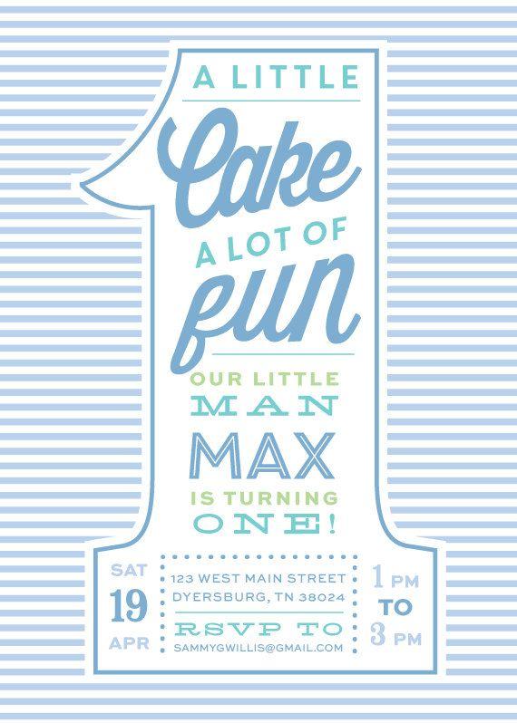 Seersucker Boy First Birthday Invitations by DelightPaperie