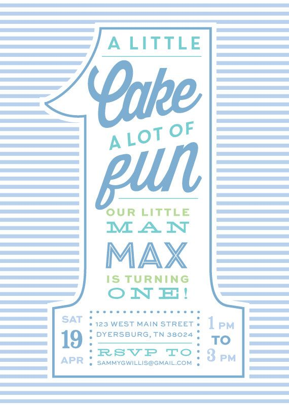 Seersucker Boy First Birthday Invitations by DelightPaperie