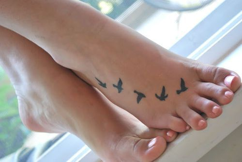 bird flying tattoo for foot