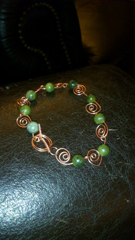 Hand made copper and moss agate bracelet