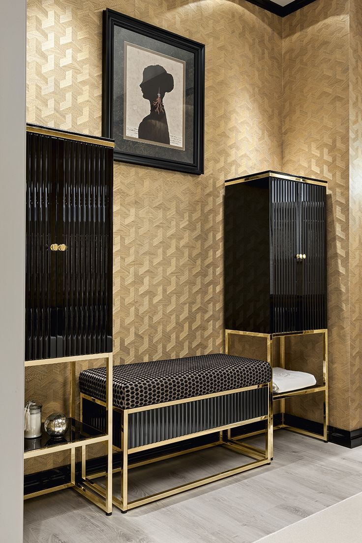 """Academy collection from the Bathroom Luxury line. Refined, elegant and inspired by the """"salle de bain"""" bathrooms of Art Dèco times, the Academy collection includes sanitary ware, a matching bathtub and a range of accessories that serve to complement and complete the overall look. As shown, it features a """"ribbed"""" motif in black gloss lacquer with gold detail."""
