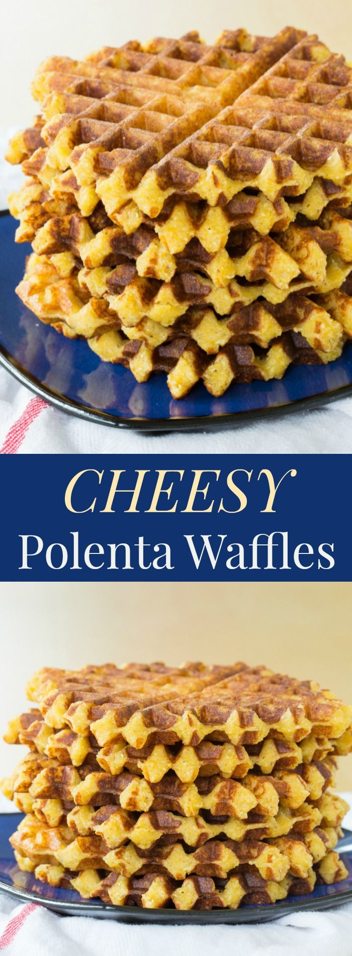 Cheesy Polenta Waffles - this savory waffle recipe makes a delicious side dish any time you'd serve polenta or even cheddar grits, or serve it for breakfast topped with eggs.   cupcakesandkalechips.com   gluten free