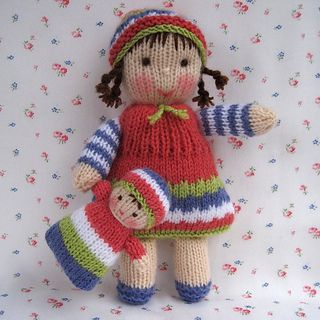 KNITTING PATTERN contains instructions for LINDY LOU and her little doll. Both are easy to knit and their soft bodies make them very huggable. With her gentle smile and plump outstretched arms LINDY LOU is just asking for a cuddle and will make the perfect companion for tiny tots.