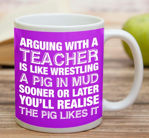 """""""Arguing With A Teacher""""    """"Arguing With A Chef""""    High quality 11 oz ceramic mugs, microwave and dishwasher safe.   Delivery.  All mugs are custom printed within 2-3 working days and delivered within 3-5 working days.  Express delivery costs $4.95 for the first item or if buying 2 or more items delivery is FREE!"""