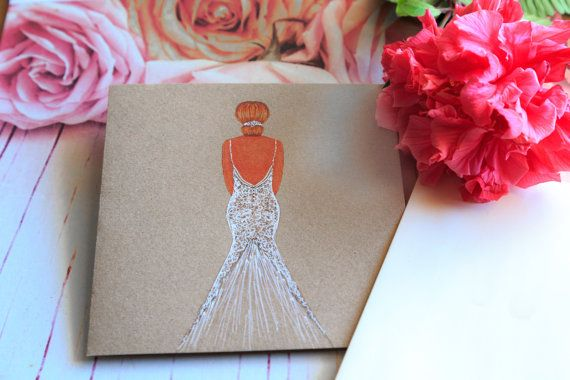 The Big Day- hand illustrated greeting card by CardwellandInk on etsy