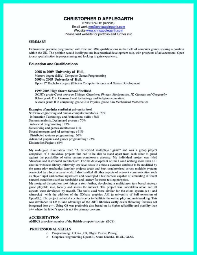 Fresher resume for bsc computer science in: The Best Computer Science Resume Sample Collection Job Resume Samples Teacher Resume Examples Computer Science
