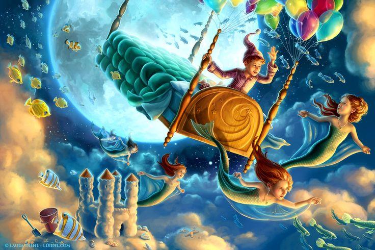 """Skymaids and Starfish"" by Laura Diehl - LDiehl.com (fantasy art, children's illustration, moon, sky, fish, sandcastle, mermaids, floating, bed, boy)"