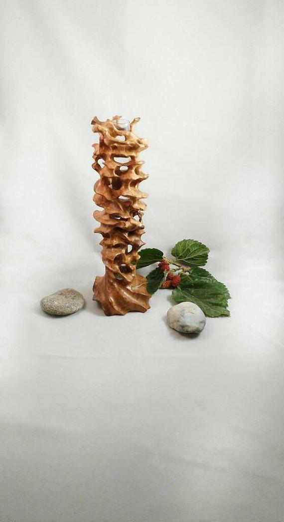 Flower vase,wooden sculpture vase,reclaimed wood vase,decorative vases,flower vase test tube,made in israel,gift for her,single flower vase