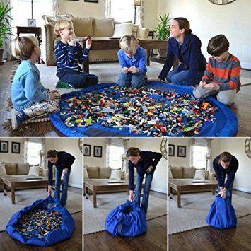 Togather® Artículo los niños juguetes bolso jugar Mat rápidamente limpieza organizador del almacenaje, multiusos portátil al aire libre manta actividades alfombra - azul: Amazon.es: Bebé