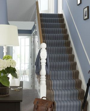 hallway paint? Powder blue will always make a room seem larger. To stop the hall looking cold, introduce natural wood and a warming, coff...