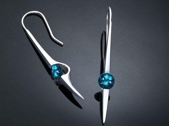 blue topaz earrings  London blue topaz  by VerbenaPlaceJewelry