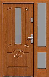 Drzwi zewnętrzne z doświetlem dostawką boczną model  502,7s-d1 w kolorze złoty dąb