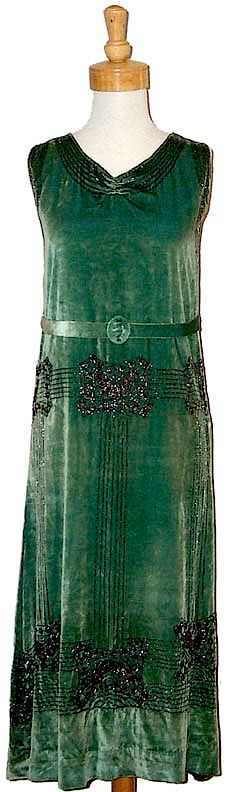1920's Iced Green Velvet Gown with Gunmetal Beading
