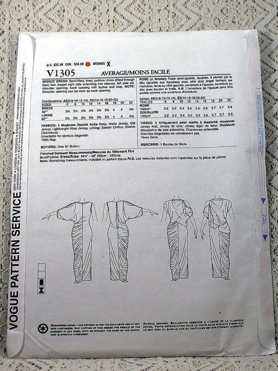 Vogue 1305 Misses' Dress Sewing Pattern Evening Dress
