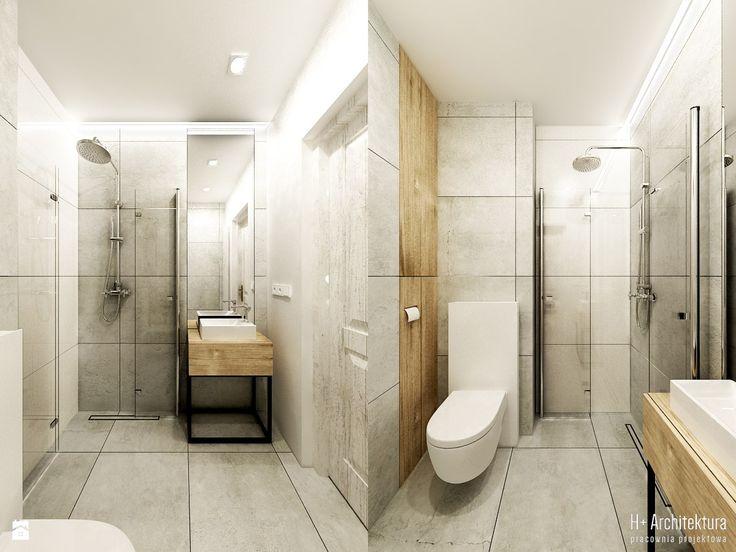 Łazienka gościnna ze złożoną kabiną - zdjęcie od H+ Architektura - Łazienka - Styl Industrialny - H+ Architektura