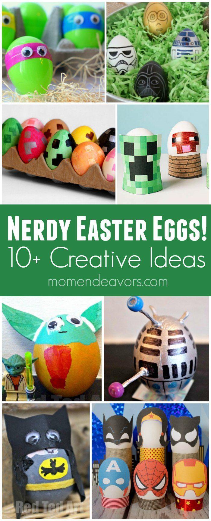 10+ Nerdy Easter Eggs - Creative egg ideas like Star Wars, Minecraft, Ninja Turtles, Avengers, and more!
