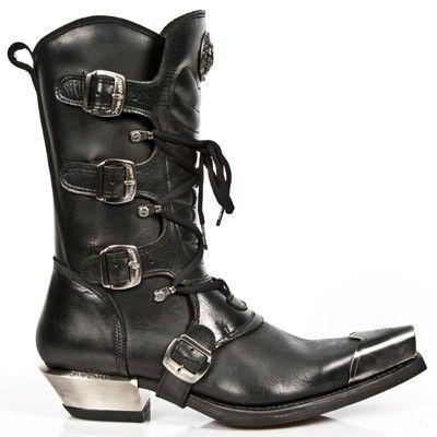 Les Nouveaux Hommes Longs Cuir Noir Métal Rock Chaussures - M.591.s2 (eu 44, Noir)