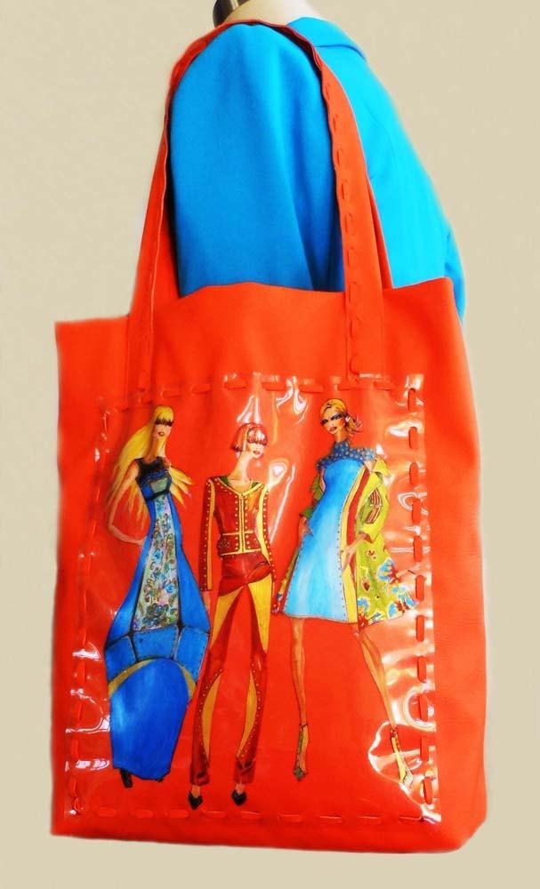 """Tote leather bag--  LeDiMarco Shop  shoulder bag/laptop/Handbag/ messanger/handmade/handpainted """"Modern Goddess"""" in Orange MEDIUM"""