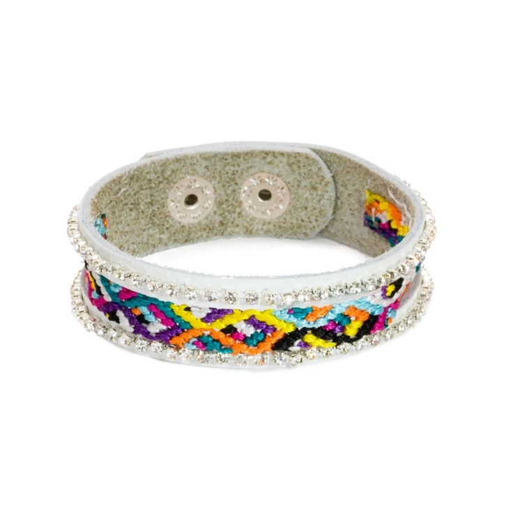 The leather band gives a little more structure the friendship style, making it more wearable and durable. Presh by Nicole Apostoli Friendship Bracelet from LittleBlackBag: Friendship Style, Black Bags, Littleblackbag Com, Friendship Bracelets