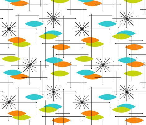 Orange, aqua, and lime green with black lines on a fabric white background.