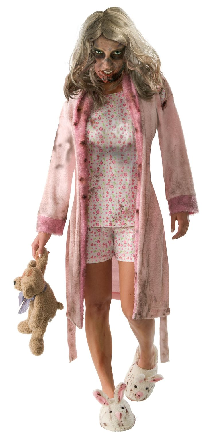 This little girl will cause such a fright as she stalks the streets on Halloween night.    You'll look ready to take down any human in The Walking Dead - Pajama Zombie Adult Costume which includes: A light pink robe featuring dirt details, an attached distressed flower print shirt, matching shorts and a pair of blood splattered bunny slippers.