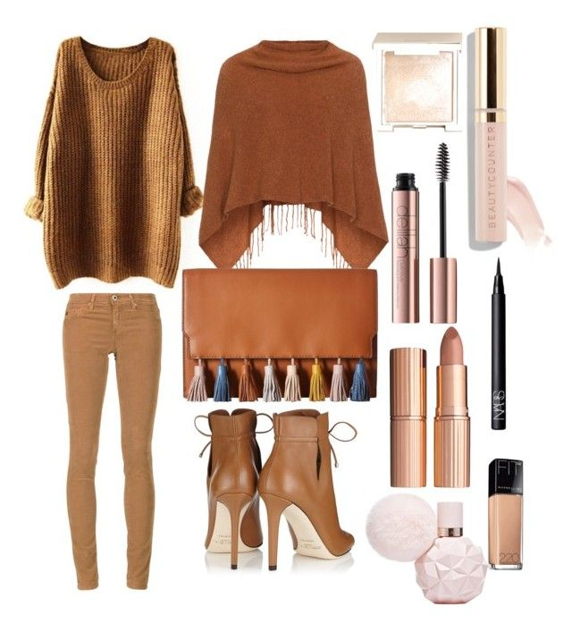 """""""Untitled #11"""" by sofiaskvrekova on Polyvore featuring AG Adriano Goldschmied, Samoon, Jimmy Choo, Rebecca Minkoff, Jouer, Beautycounter, Charlotte Tilbury, NARS Cosmetics and Maybelline"""