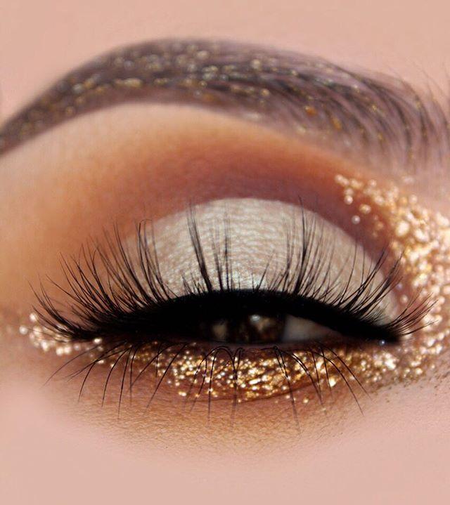 Gold Glitter & Brown Eye Makeup