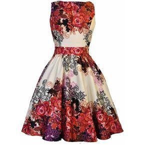 Red Rose Floral Collage on Cream Tea Dress ❤ liked on Polyvore featuring dresses, vestidos, robes, short dresses, skater skirt, vintage mini dress, short red dress, floral mini dress and floral dresses