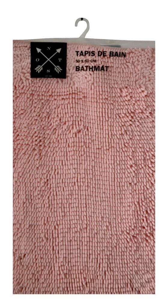 tapis chenille rose pastel | Tapis salle de bain