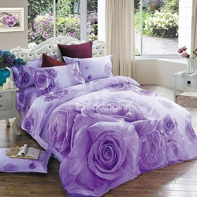 Brilliant Purple Rose Print 4-Piece Cotton Duvet Cover Sets