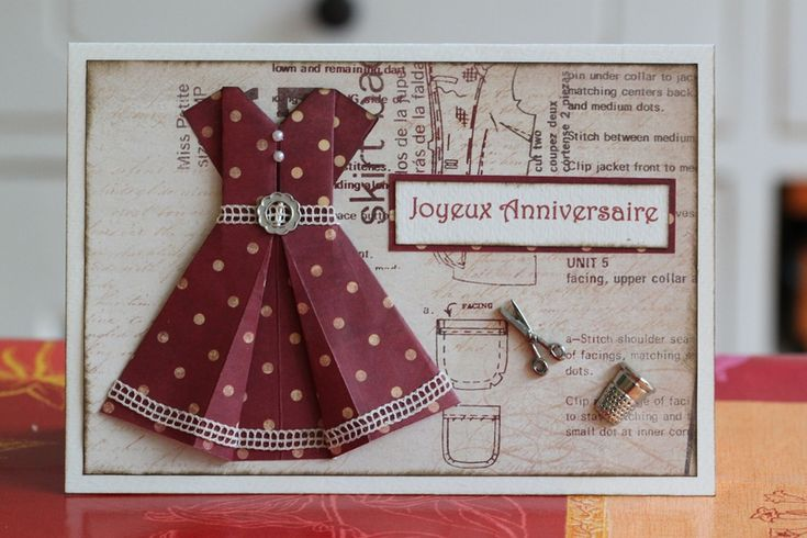 Jolie carte couture inspiration cartes pinterest petite robes and origami - Robe en origami ...