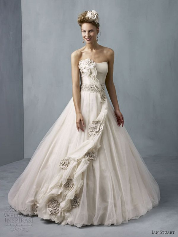 ian stuart wedding dresses 2013 cassiopeia taupe ball gown strapless