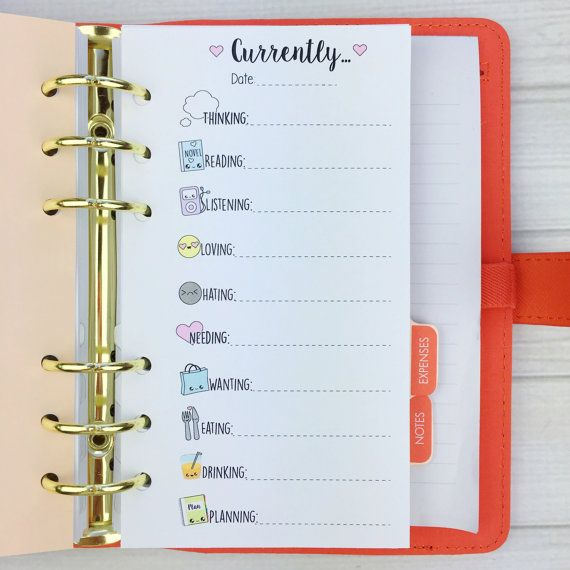PERSONAL SIZE Planner Insert - Currently List
