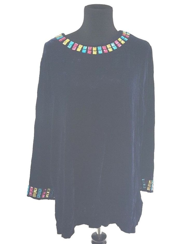 Blue Velvet Tunic Neiman Marcus MEDIUM Jeweled Rayon Silk Top MSRP $220 Festive #NeimanMarcus #Blouse #EveningOccasion