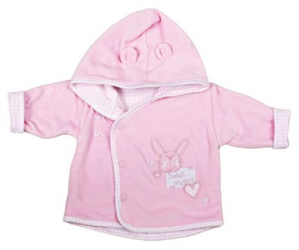 Cute Premature Velour Hooded Jacket with Rabbit design on Chest and Stars on the Shoulder. Lovely looking jacket. Made from 80% Cotton and 20% Polyester Velour on the outside and !00% Interlock Cotton Gingham Lining. Available in Pink and Blue. In sizes 3-5lbs and 5-8lbs.