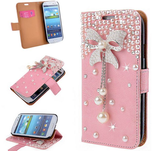 Samsung Galaxy S6 Pink Bling Diamond 3D Bow Wallet Case Stand Cover for Samsung Galaxy S6 Edge Plus/S6 Edge Rhinestone Cases S6 Filp Cover