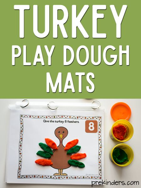 These Turkey Play Dough Math Mats are a fun way to practice counting this Thanksgiving! Kids can make turkey feathers with play dough to place on the turkey