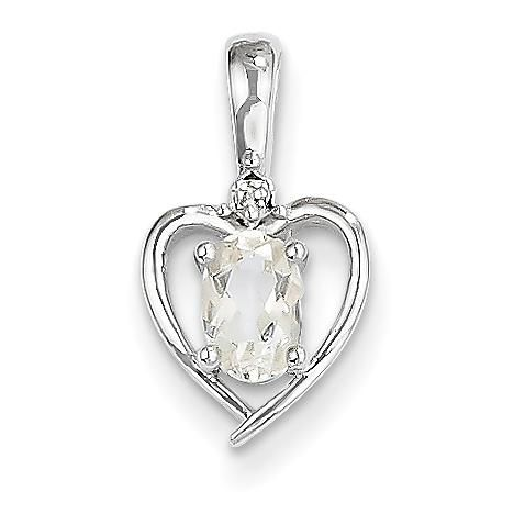 14k White Gold Genuine Oval White Topaz and Diamond Heart Pendant
